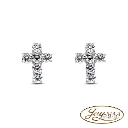 9ct White Gold Cubic Zirconia Stud Earrings - Cross