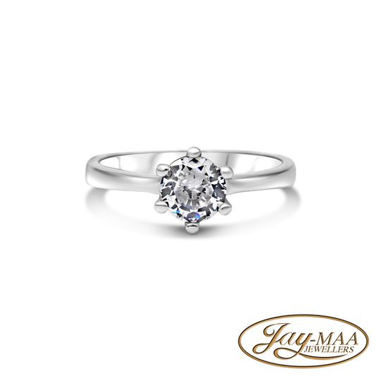 Sterling Silver Cubic Zirconia - 6 Claw Solitaire - L