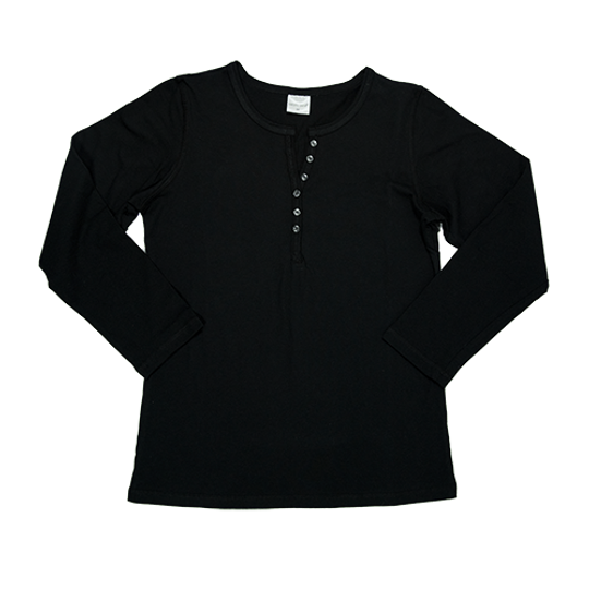Ladies Long Sleeve - Buttons Black