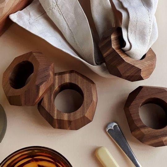 Facet Kiaat Wood Napkin Rings