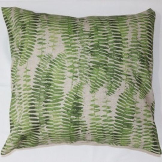 small green fern linoprint cushion cover
