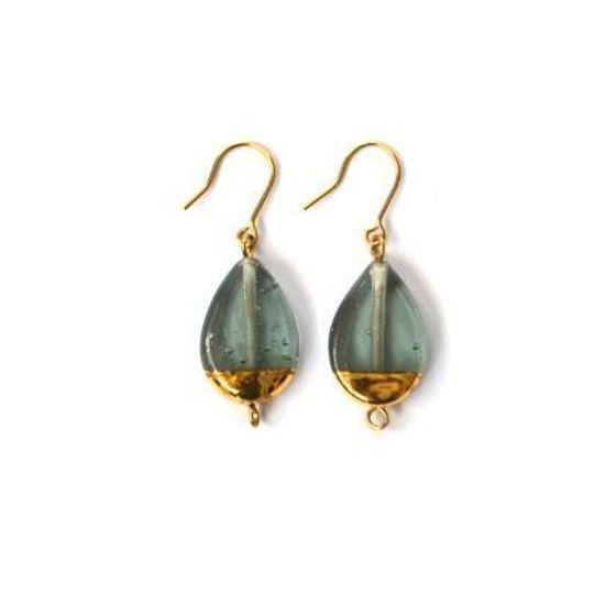 Glass Teardrops & Gold detail Earrings
