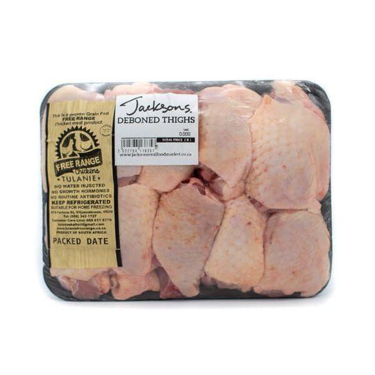 Free-range chicken deboned Thighs (+-540g)