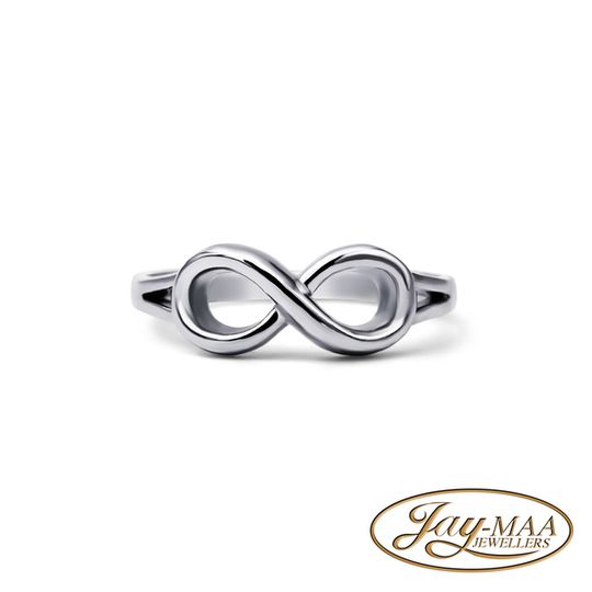 9ct White Gold Cubic Zirconia Ring - Simple Infinity