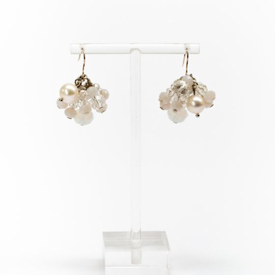 Cluster Earrings - Clear & Pearl