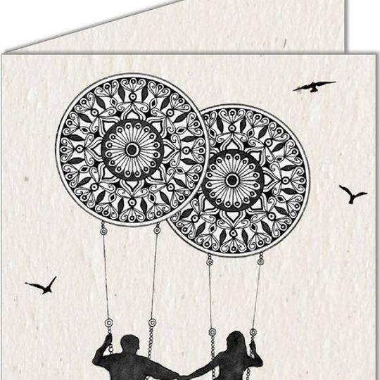 Greeting Card   Couple on Mandala Swing