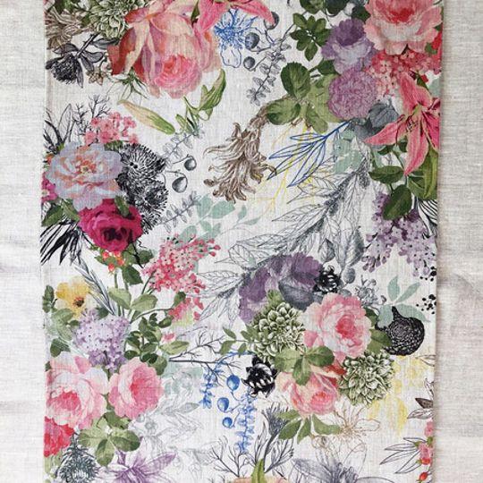 Summer Floral Linen Cloth