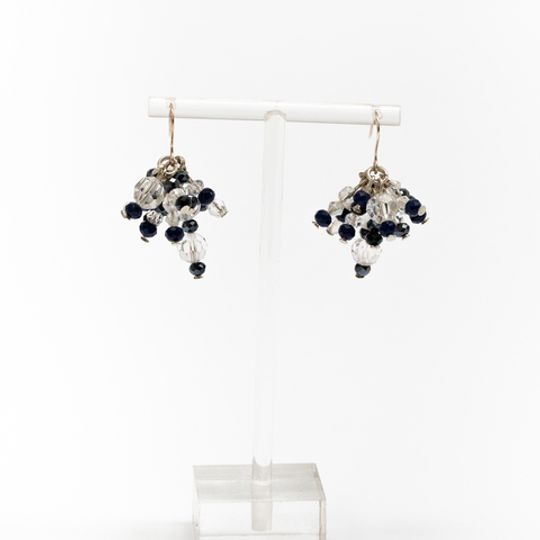Cluster Earrings - Navy & Clear