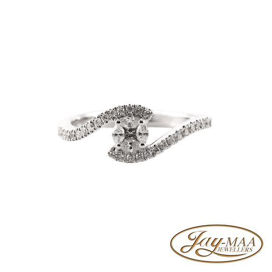 18ct White Gold Diamond Illusion Ring - Love Swirl