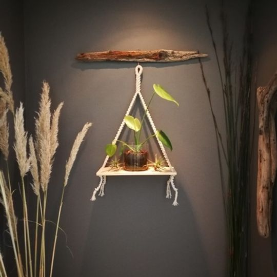 Macrame Single Shelf - medium Natural