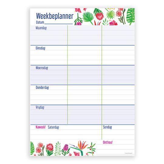 """A5 """"Weekbeplanner"""" - Afrikaans"""