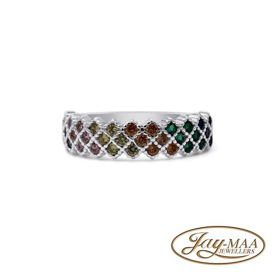 Sterling Silver Cubic Zirconia Ring - Multicolour Eternity Band