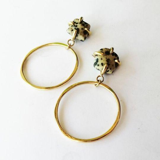 STONE CLAW Hoop Earrings with Dalmation Jasper