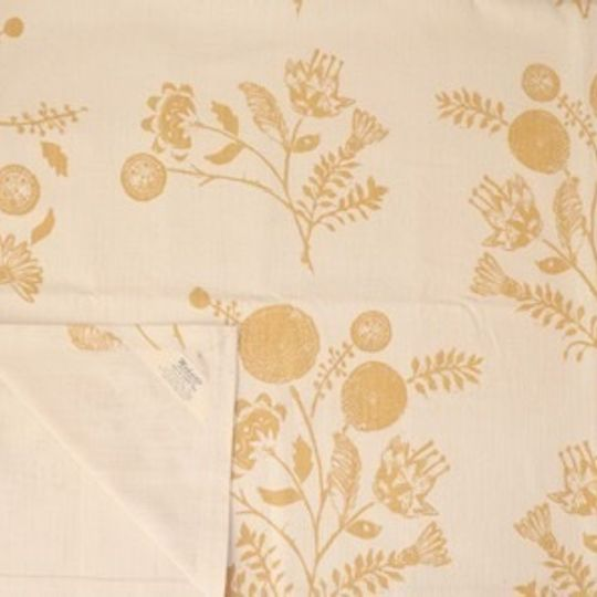 Wheat yellow linocut floral on natyral 100% cotton