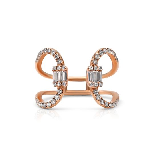 18ct Rose Gold Diamond Ring - Buckle Up Design
