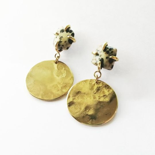 STONE CLAW Disc Earrings with Dalmation Jasper