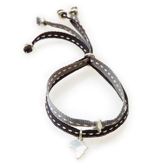 CHEEKY Bracelet with ribbons Africa - Black/Dark Grey