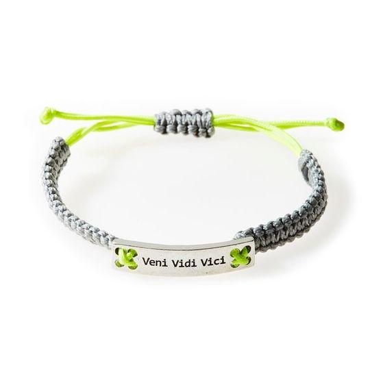 CHAMP Macrame Bracelet Veni Vidi Vici - Light grey/Neon Lime