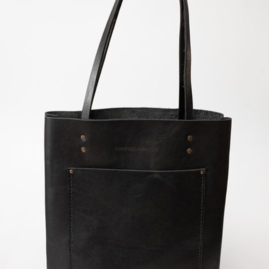 The Leather Long shopper - Black