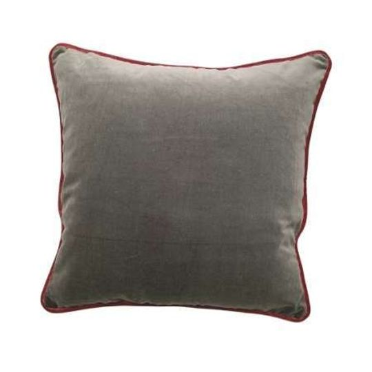 Luxury Cotton Velvet Cushion in Silver Grey & Coral Pink