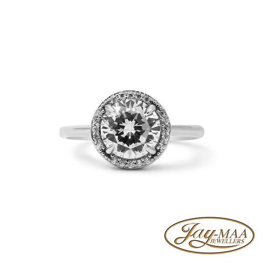 Sterling Silver Cubic Zirconia Ring - Le Grand Halo