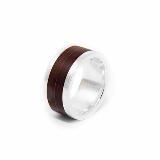 Industrial Wood  & Silver Ring