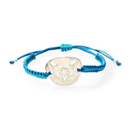 COOL Macrame Bracelet Pansy Shell/Sand dollar - Navy blue/Turquoise