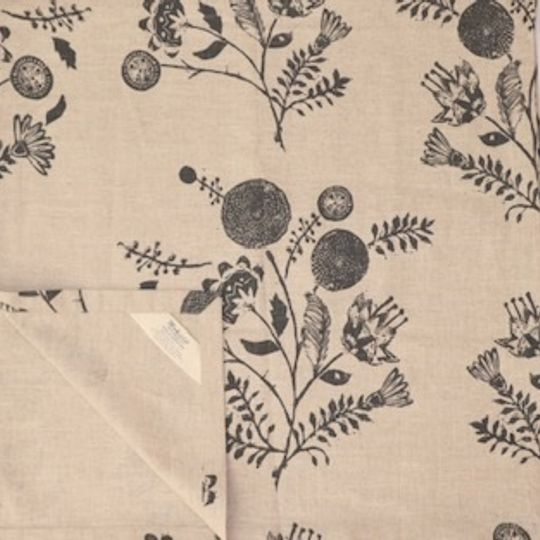 grey linocut floral runner on linen background