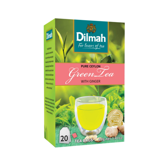 Dilmah Ceylon Green Tea with Ginger (20 x 2g tagged tea bags)