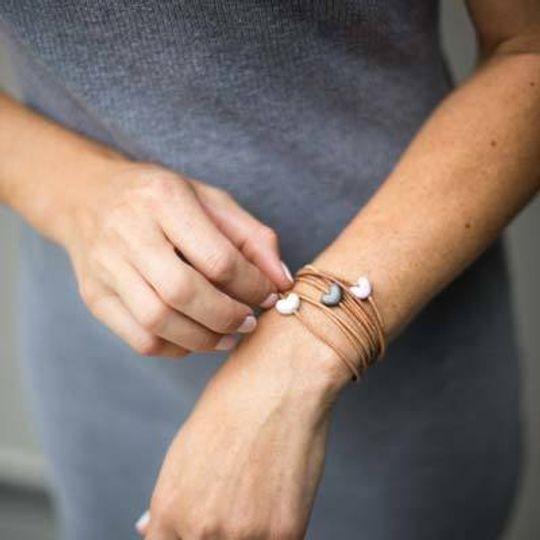 Leather & Glass Heart Bracelet