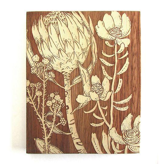 Woodblock Art - Protea - Bone White or Sage