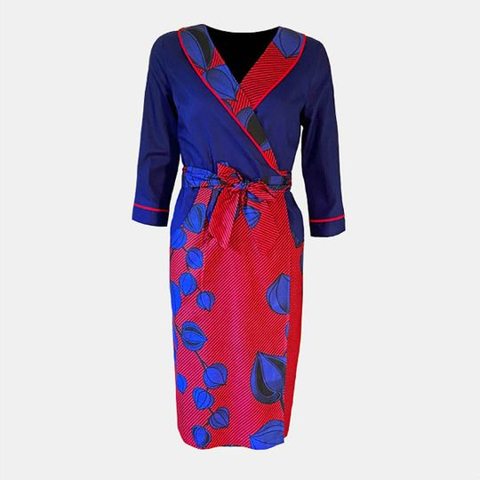 Red & Blue Wrap Dress