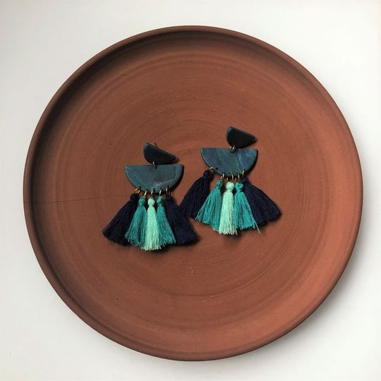Turquoise Half Circles with Tassels