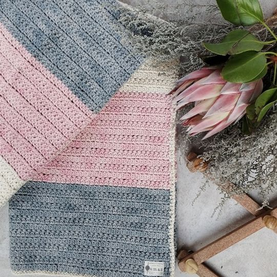 The Colour Block Blanket (Pink/Grey)