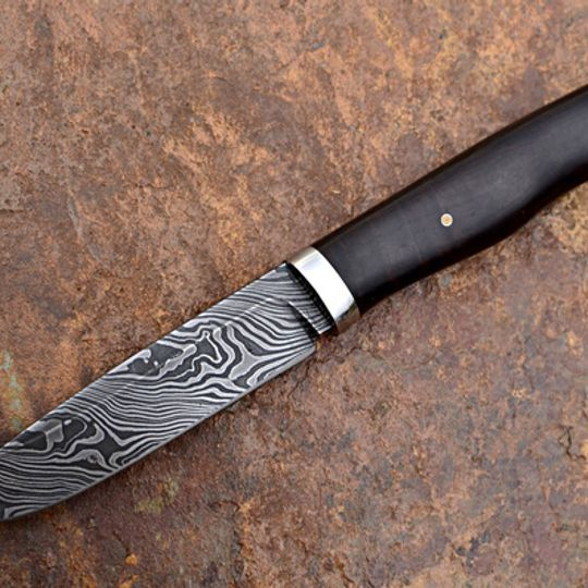 Handmade Custom Knife | Damascus & Blackwood