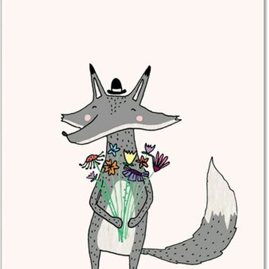 Greeting Card | Fox & Flowers