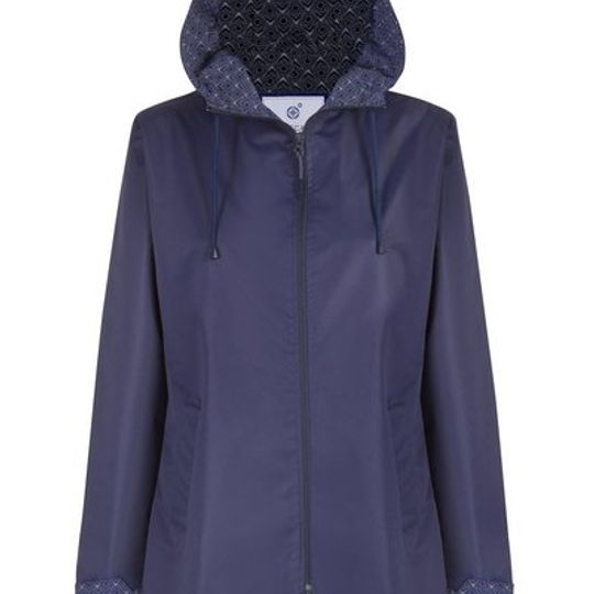 Navy Long Length Raincoat