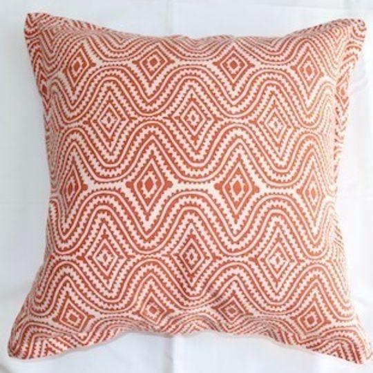 Orange blockprint cushion cover