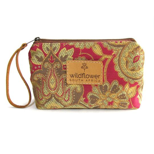Zip Pouch - Pink & Gold Paisley