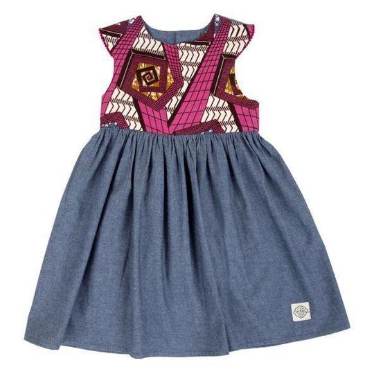 Dress / Girls - Denim and Pink Wax Cloth - M0303