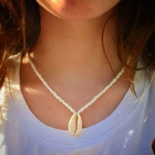 Beaded cowrie shell neckace