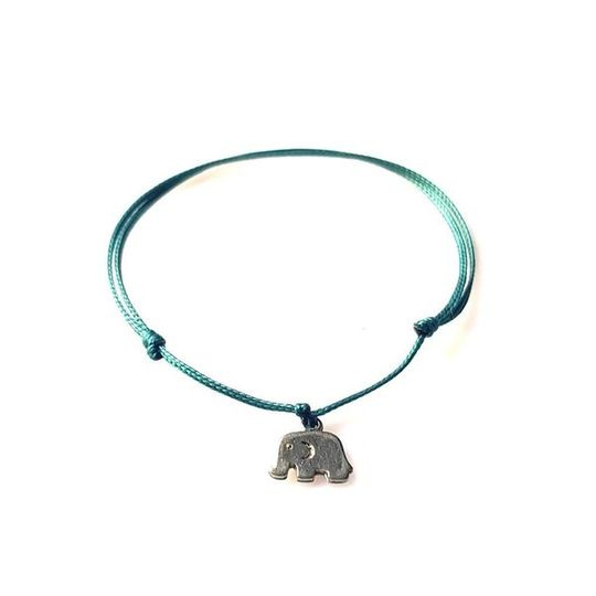 DAINTY Single Thread Bracelet Elephant - Emerald