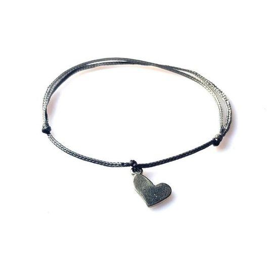DAINTY Single Thread Bracelet Heart - Grey