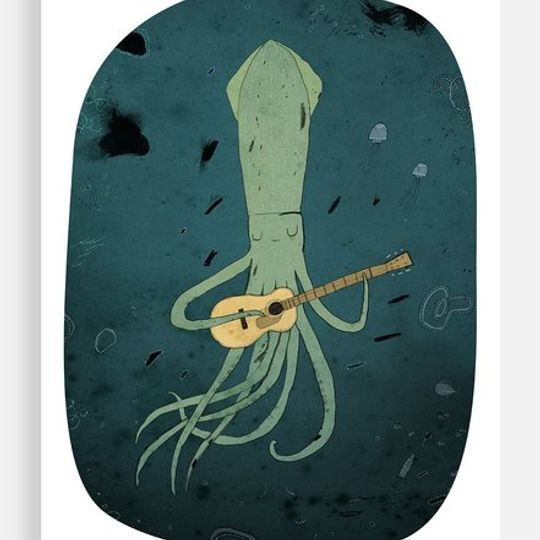 Squid playing a guitar
