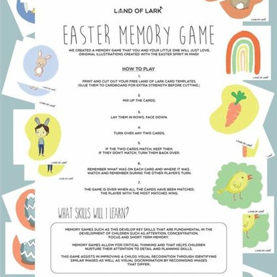 FREE Easter memory game template