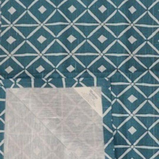 Teal verandah print on 100% linen background
