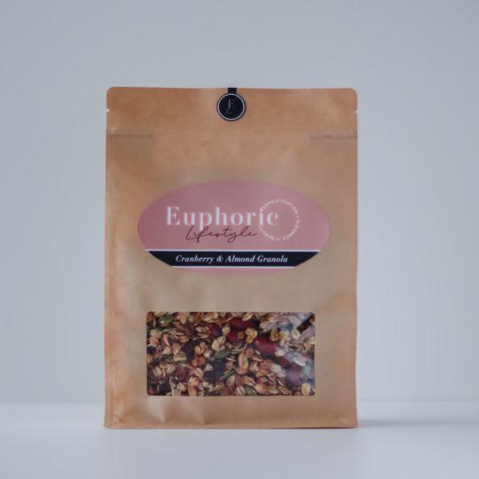 Euphoric Lifestyle Cranberry & Almond Granola 500g bag
