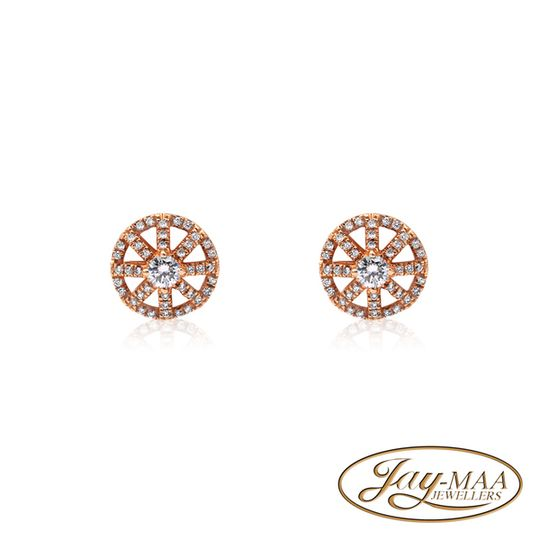 18ct Rose Gold Diamond Stud Earrings - The Compass