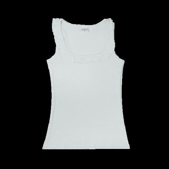 Ladies Sleeveless - Frill White