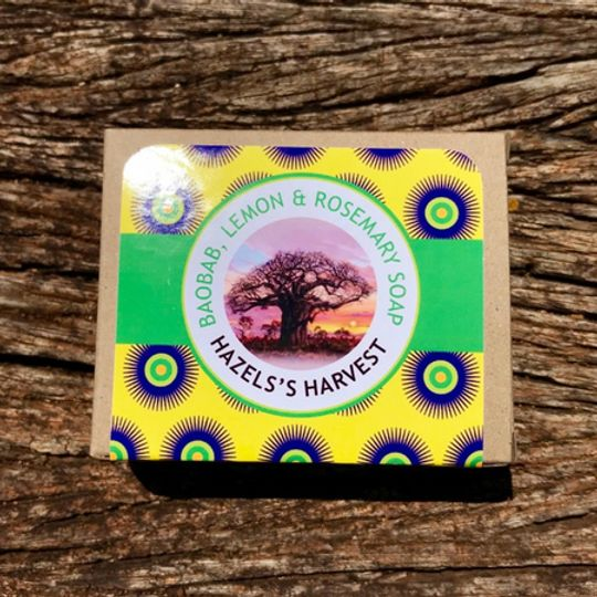 Baobab, Lemon & Rosemary Natural Vegetable Soap (120g bar)